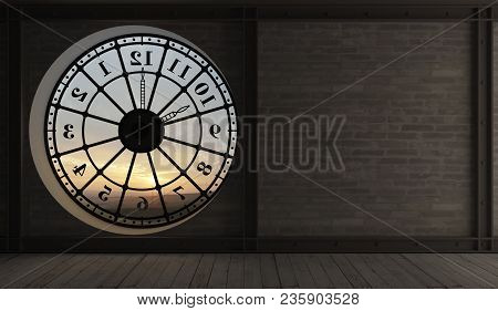 3d Illustration. The Interior Of The Old Clock Tower. Round Clock Window In The Room. Interior Conce