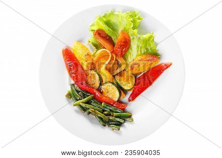 Vegetables Grilled Portion Of Side Dish On A Plate On White Isolated Background View From Above. App