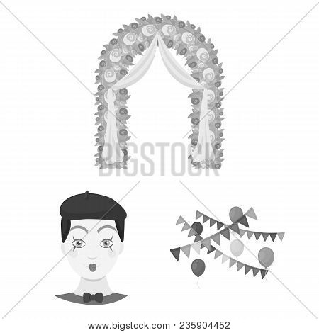 Event Organisation Monochrome Icons In Set Collection For Design.celebration And Attributes Vector S