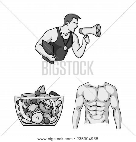 Fitness And Attributes Monochrome Icons In Set Collection For Design. Fitness Equipment Vector Symbo