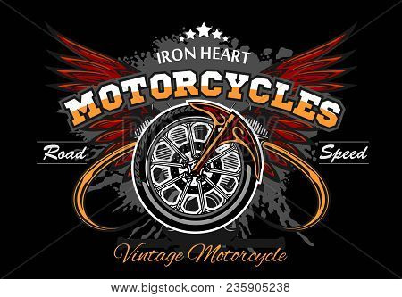 Wheel And Wings - Motorcycle Wheel Vector Illuastration On Black