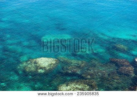 Emerald, Blue Sea Water Background. Water Ripples