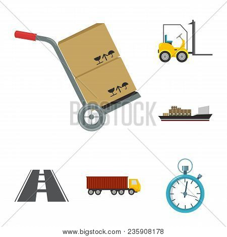 Logistics Service Cartoon Icons In Set Collection For Design. Logistics And Equipment Vector Symbol