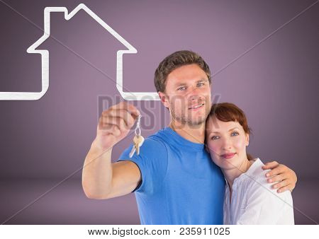 Couple Holding key with house icons in front of vignette
