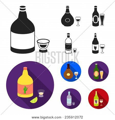 Tequila, Cognac, Beer, Vodka.alcohol Set Collection Icons In Black, Flat Style Vector Symbol Stock I