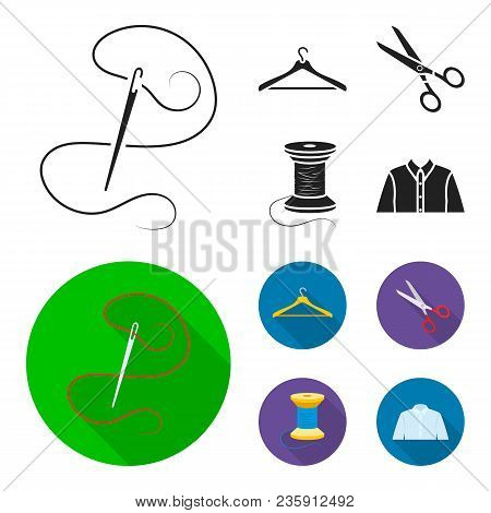 Thread, Reel, Hanger, Needle, Scissors.atelier Set Collection Icons In Black, Flat Style Vector Symb