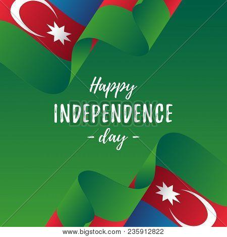 Banner Or Poster Of Azerbaijan Independence Day Celebration. Azerbaijan Flag. Vector Illustration.