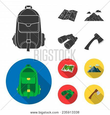 Backpack, Mountains, Map Of The Area, Binoculars. Camping Set Collection Icons In Black, Flat Style