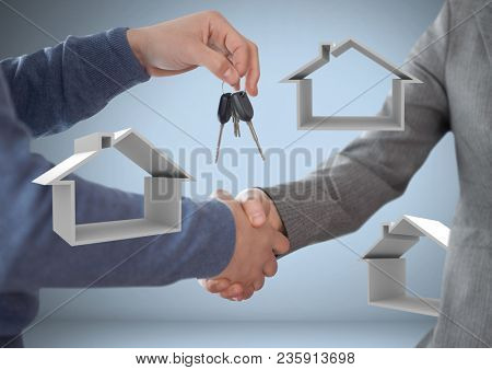Hands Holding keys with house icons in front of vignette with handshake