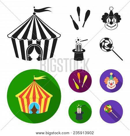 Circus Tent, Juggler Maces, Clown, Magician Hat.circus Set Collection Icons In Black, Flat Style Vec