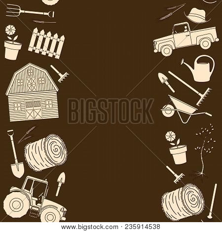 Seamless Borders Of Farming Equipment Liine Icons. Farming Tools And Agricultural Machines Decoratio