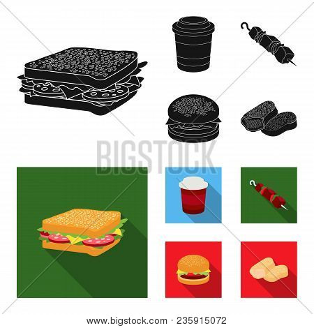 Sandwich, Coffee, Shish Kebab, Burger.fast Food Set Collection Icons In Black, Flat Style Vector Sym