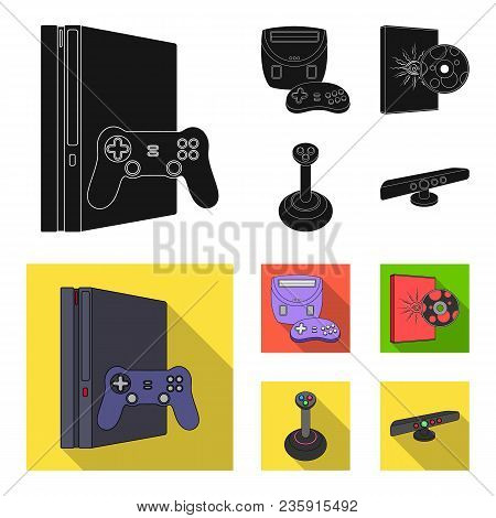 Game Console, Joystick And Disc Black, Flat Icons In Set Collection For Design.game Gadgets Vector S