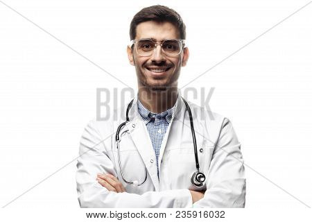 Horizontal Portrait Of Handsome Man Physician Pictured Isolated On White Background With Stethoscope
