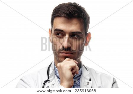 Closeup Shot Of Man Doctor In White Uniform Isolated On White Background With Stethoscope Around Col
