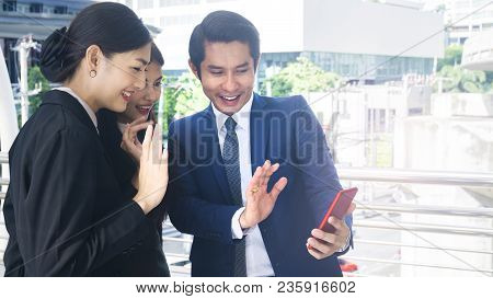 Group Smart Business People Of Man And Woman Talk Together And Video Call Yourself In Feeling Happy