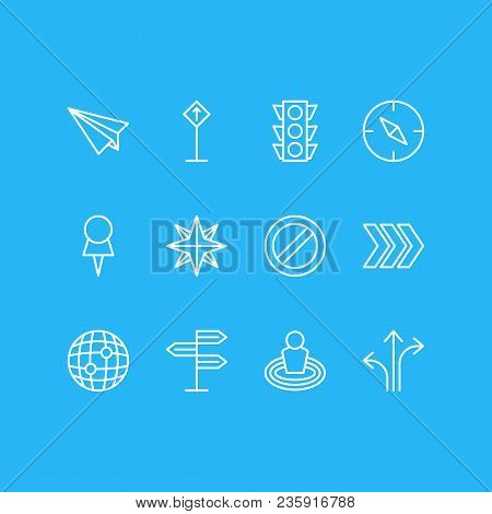 Vector Illustration Of 12 Location Icons Line Style. Editable Set Of Check-in, No Entry, Orientation