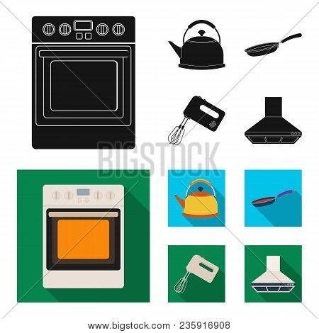 Kitchen Equipment Black, Flat Icons In Set Collection For Design. Kitchen And Accessories Vector Sym