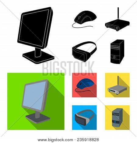 Monitor, Mouse And Other Equipment. Personal Computer Set Collection Icons In Black, Flat Style Vect
