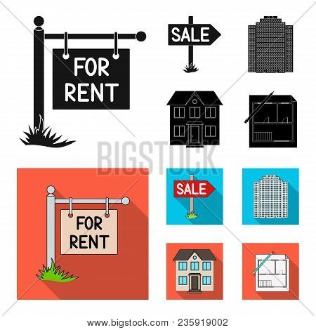 Signs Of Sale And Rent, A Skyscraper, A Two-story Cottage.realtor Set Collection Icons In Black, Fla