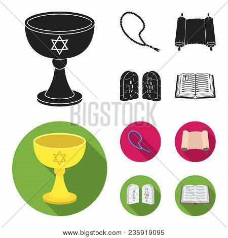 A Cup Of Wine, Islamic Beads, Ten Commandments, Tanakh. Religion Set Collection Icons In Black, Flat