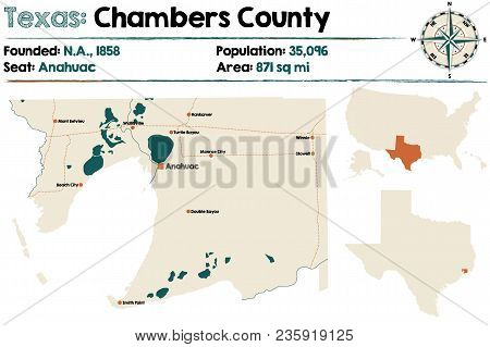 Detailed Map Of Chambers County In Texas, Usa.
