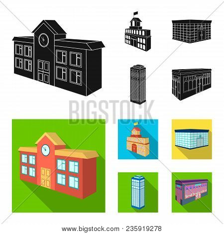 Bank Office, Skyscraper, City Hall Building, College Building. Architectural And Structure Set Colle