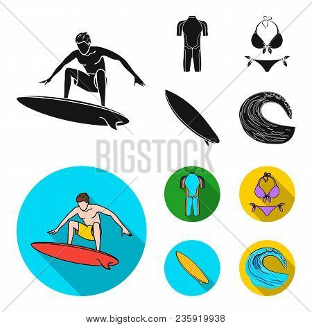 Surfer, Wetsuit, Bikini, Surfboard. Surfing Set Collection Icons In Black, Flat Style Vector Symbol