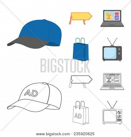 Baseball Cap, Pointer In Hands, Laptop, Shopping Bag.advertising, Set Collection Icons In Cartoon, O