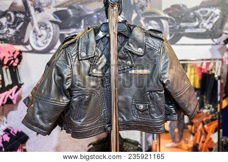 Tel-aviv, Israel - April 3, 2018: Baby Harley Davidson Leather Jacket For Sale At Motorshow