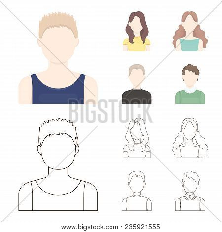 Girl With Long Hair, Blond, Curly, Gray-haired Man.avatar Set Collection Icons In Cartoon, Outline S