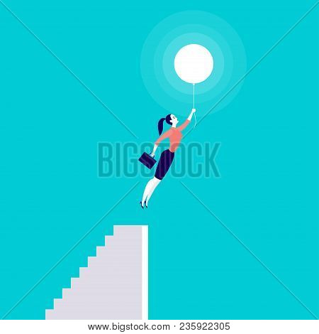Vector Business Concept Illustration With Business Lady Flying Up With Air Balloon From Stairs Isola