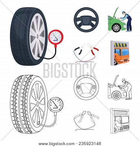 Engine Adjustment, Steering Wheel, Clamp And Wheel Cartoon, Outline Icons In Set Collection For Desi