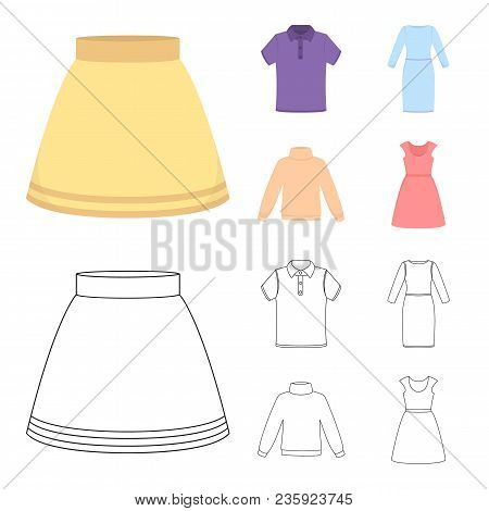 Skirt, T-shirt, Sweater, Dress With Long Sleeves.clothing Set Collection Icons In Cartoon, Outline S