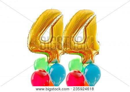 Golden Number 44 Forty Four Made Of Inflatable Balloon Colored Balloons White Background
