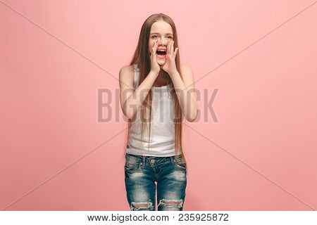 Do Not Miss. Young Casual Teen Girl Shouting. Shout. Crying Emotional Teenager Screaming On Pink Stu
