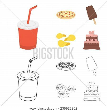 Cola, Pizza, Ice Cream, Chips.fast Food Set Collection Icons In Cartoon, Outline Style Vector Symbol