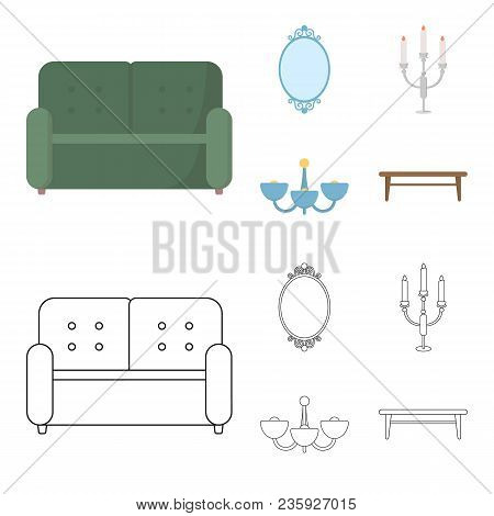 Sofa, Mirror, Candlestick, Chandelier.furniturefurniture Set Collection Icons In Cartoon, Outline St