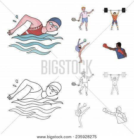 Swimming, Badminton, Weightlifting, Artistic Gymnastics. Olympic Sport Set Collection Icons In Carto