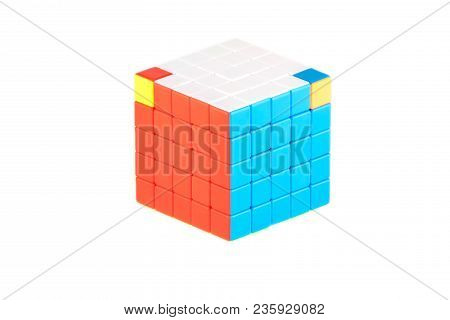 The Rubik`s Cube Five On Five On The White Background. The Solution Sequence Stage Eight. The Object