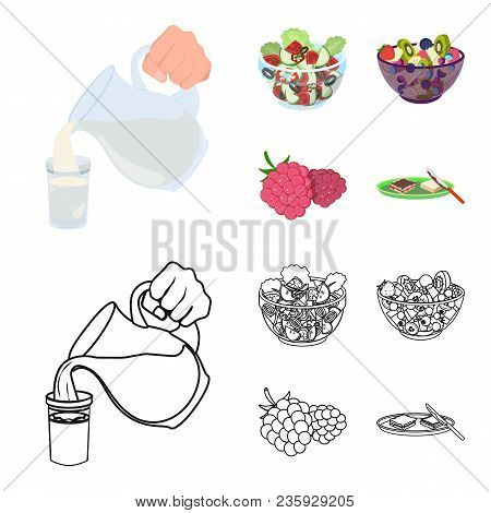 Fruit, Vegetable Salad And Other Types Of Food. Food Set Collection Icons In Cartoon, Outline Style