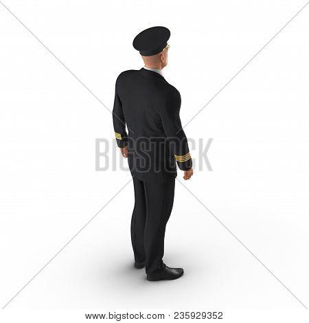 Senior Flight Captain Standing On White Background. 3d Illustration