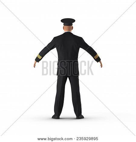 Passenger Plane Pilot On White Background. 3d Illustration