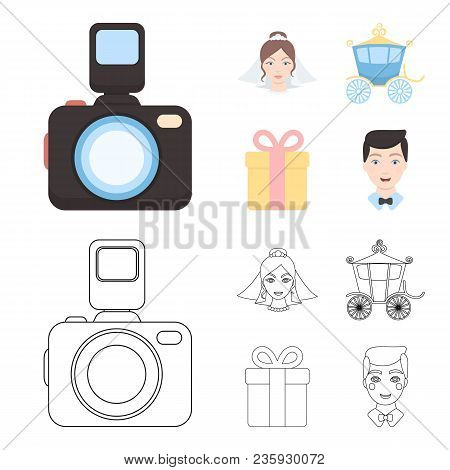 Bride, Photographing, Gift, Wedding Car. Wedding Set Collection Icons In Cartoon, Outline Style Vect
