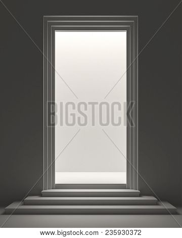 Rectangle Shape Door With Light Inside 3d Render.product Showcase Station Using The Light To Shine I