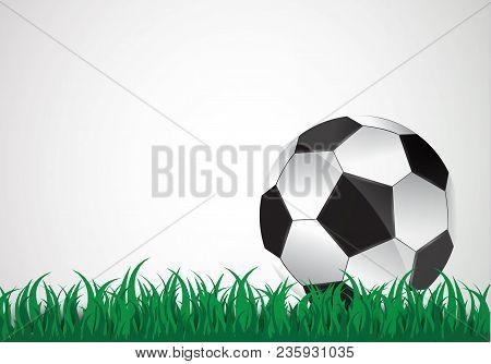 The Ball Lies On The Grass. A Football Match. Vector Illustration. A Beautiful Ball And Green Grass.