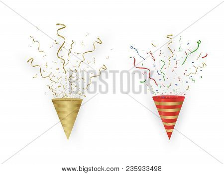 Gold Streamers Set. Golden Serpentine Ribbons, Isolated On Transparent Background. Decoration For Pa
