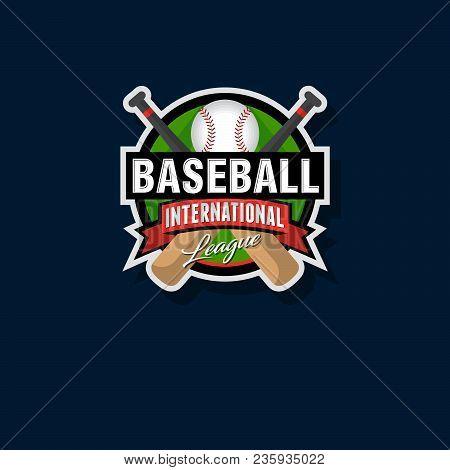 Baseball Emblem Baseball Logo. Baseball Bats And Ball In A Circle With Ribbons.