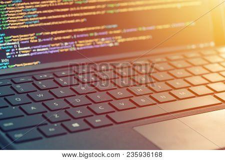 Closeup Coding, Programming On Laptop Screen, Web Development, Developer