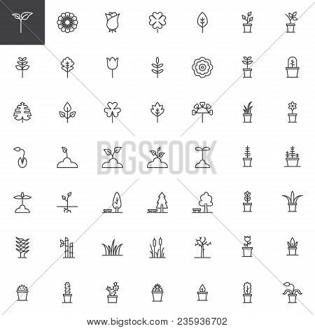 Plants And Flowers Outline Icons Set. Linear Style Symbols Collection, Line Signs Pack. Vector Graph